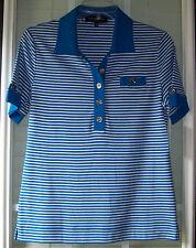 Jones New York Short Sleeve Cotton Blend Blue Striped Casual Polo Shirt - M