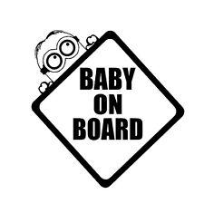 10.9 x 15.1 CM Black Baby On Board  Bumper Window Van Window Laptop DECAL