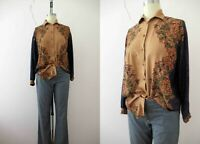 Vintage 80s Tan Blue Floral Western Style Rayon Blouse S Buy 3+ Items  FREE Post