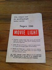 Vintage SUPER 100 MOVIE LIGHT Photography Photographer Brochure Manual MAKING