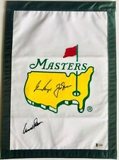 Jack Nicklaus Arnold Palmer gary player signed Masters golf flag big 3 beckett