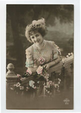 1910s French Glamour Young SMILING BEAUTY Fashion Pretty Lady photo postcard