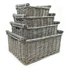 Children Kids Baby Nursery Storage Organiser Decoration Decor Wicker Basket Grey Large 45x35x20cm