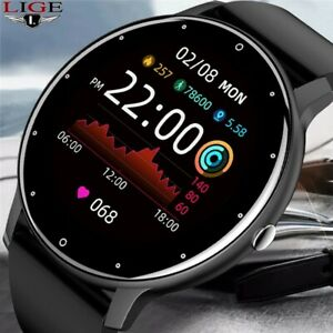 LIGE 2021 New Full Touch Waterproof Sport Smart Watch for ios Android with BOX