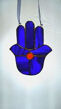 Stained Glass Blue Buddhist Symbol Suncatcher Hand - by 'Faith Stained Glass '