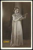 sweet girl smiling w harp, Vintage Photograph, 1920'