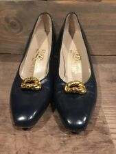 Salvatore Ferragamo Slip On Pumps Size 8 AA Women's Shoes Navy Blue Italy