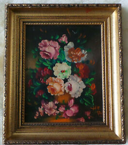 STILL IFE. A BOUQUET OF DECORATIVE FLOWERS - A SMALL OIL PAINTING.