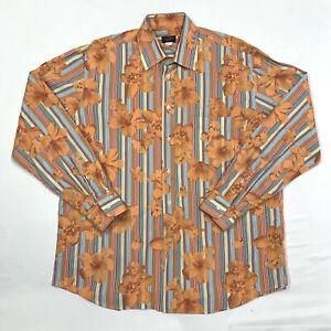 Vintage paul & shark Longsleeve Shirt mens floral Orange Rare Size XL VTG EUC