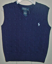 RALPH LAUREN BOYS CABLE KNIT NAVY SWEATER VEST SIZE 4 NEW WITH TAGS