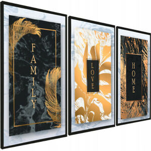 SET OF 3 LIVING ROOM PRINTS. Wall Art Poster Picture A4 A3 Prints Gold Leaf