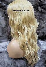 Long Beach Wavy Bleach Blonde Full Lace Front Wig Heat Ok Hair Piece #613