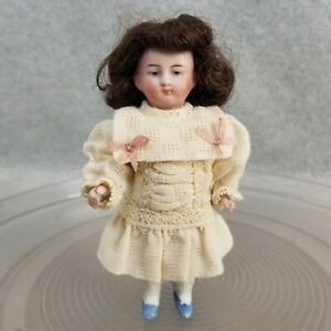 """5"""" antique German bisque Miniature Dollhouse Doll with molded blue shoes # 5034"""
