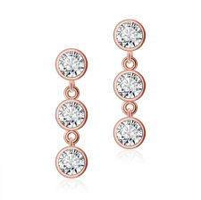 18K Rose Gold Plated Sparkly Crystal Triple Solitaire Drop Dangle Stud Earrings