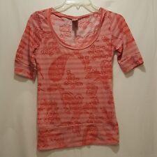 Shirt Flowers Stripes Pink Black Rue21 Size Medium Short Sleeve Junior