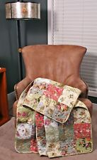 Quilt Throw Patchwork Blooming Cottage Floral Paisley Cotton Lap Blanket