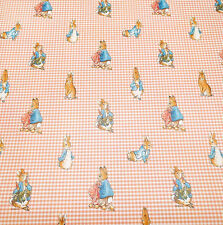 Vintage Wallpaper Nursery Beatrix Potter Peter Rabbit Pink Gingham by Motif