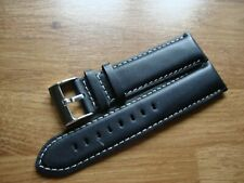 Mens WESTMINSTER 24mm Handmade Black Calf Leather Watch Strap, S/S Buckle