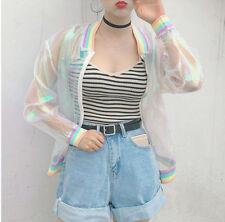 Harajuku Girl Iridescent Laser Symphony Hologram Jacket Transparent Rainbow Coat
