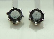 RARE 1,8 Carat Black Rutile Quartz Studs 925 Silver from Sri Lanka To