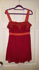 Principles size 14 red and orange cotton and silk strappy beaded top