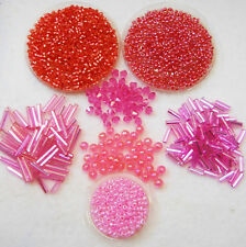 Deep Pink Bead Assortment Seed Beads, Delicas, Facet Beads, Bugle Beads 5700+pcs