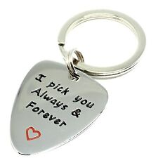 Valentines day I Pick You Always & Forever Guitar Pick Key chain Gifts for Him