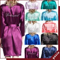 Women Satin Silk Dressing Gown Wedding Bride Bridesmaid Robe Bridal robe YX0005
