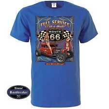 T Shirt royalblau US Car V8 Oldschool Hot Rod&`50 Stylemotiv Modell Full Service