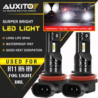2X AUXITO H8 H9 H11 Fog Driving Light Extreme Bright CSP 6000K White LED Bulb EA