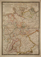 1827 Genuine Antique hand colored map of western Germany. A.H. Brue
