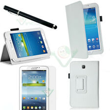 Pellicola+Pennino+Custodia pelle BIANCA Stand p Samsung Galaxy Tab 3 7.0 7 T2100