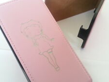 Iphone 4 BETTY BOOP GENUINE LEATHER pink flip phone case cover five Apple 4s
