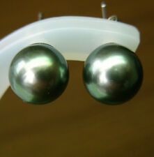 10.2mm!! TAHITIAN BLACK PEARLS 100% UNTREATED+18ct WHITE GOLD STUD EARRINGS+CERT