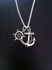 "ANCHOR WHEEL CHARM NECKLACE NAUTICAL 18"" SILVER CHAIN IN GIFT BAG"