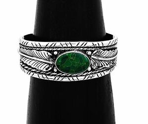 Artisan Southwestern Green Turquoise and Feather Cuff Bracelet