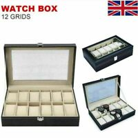 12 Grids Leather Watch Box Display Case Jewelry Collection Storage Holder Cases.