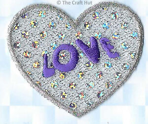 Sewing Iron or Sew On Motif Craft Factory Patch Silver Sequin Heart Love New