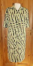 SCHNEBERGER black yellow olive beige shortsleeve shirt dress RETRO VINTAGE 14 42