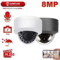 Hikvision Compatible Anpviz 8MP POE IP Camera Outdoor Night Vision with Mic
