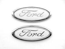 BIANCO Ford marchio ovale per Fiesta/Focus Ecc. 115mm x 45mm Nuovo di Zecca X2