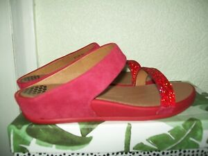 FITFLOPS RED SUEDE & RHINESTONES - SLIP ON 2 STRAPS ACROSS FOOT - NEW SIZE 5
