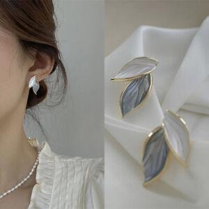 New Korean Women Metal Trendy Fresh Lovely Sweet Grey Leaf Stud Earrings Jewelry