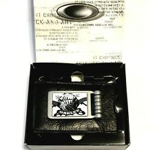 NEW ULTRA RARE MEN'S OAKLEY BLACK LEATHER WALLET Airborne Money Clip From 2007