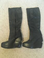 ALL SAINTS SAVITR BLACK SOFT LEATHER  CUT OUT WEDGE BOOTS 4 (37) £295 VGC