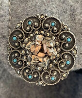 Antique Greek 800 Silver And Gold Filigree Pendant And Brooch With Lazurite