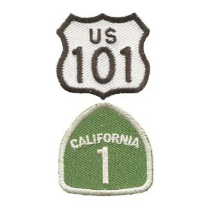 """Mini Highway 101 and California Hwy 1 Patch - CA Badge 1-3/8"""" (2-Pack, Iron on)"""