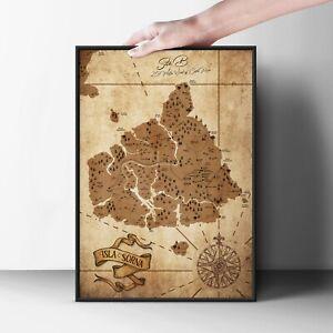 Jurassic Park Map - Isla Sorna Poster - The Lost World - Vintage Art Print Site