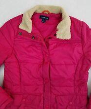 Lands' End Puffer Jacket Winter Coat Sherpa Women's Small 6-8 Fuchsia Pink YN