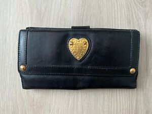 GUCCI Babouska Continental Heart Vintage Leather Black Flap Wallet Purse